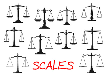 balance beam: Dual balance scales icons with vintage mechanical beam balance scales with decorative stands, figured levers and weighing pans. Scales of justice and balance themes design usage
