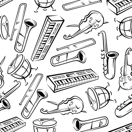 Music and arts pattern background with black and white seamless sketches of saxophones and synthesizers, drums, trombones and cellos. May be use as classic orchestra concert or musical instruments themes design