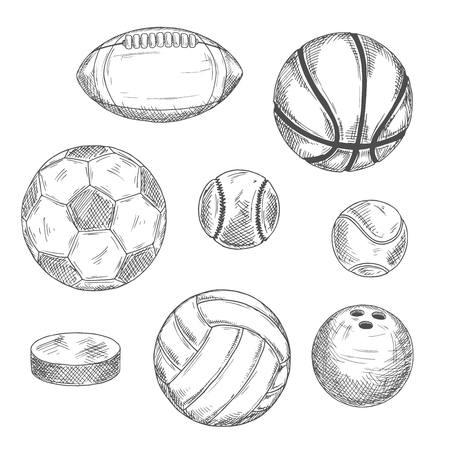 sports activity: Engraving sketch drawings of sporting balls and ice hockey puck for sports competition or leisure activity design with football and soccer, basketball and baseball, rugby and volleyball, tennis and bowling balls Illustration