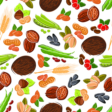 pistachios: Seamless cartoon fresh and roasted coffee beans, almonds and peanuts, hazelnuts and pistachios, walnuts and coconuts, pods and grains of sweet peas and beans, sunflower seeds and wheat ears pattern on white background