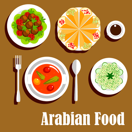 vegetarian cuisine: Arabian vegetarian shawarma wrap sandwiches filled with lentil, vegetable stew with tomatoes and peppers and deep fried chickpea falafels, cabbage salad with cucumbers and cup of coffee. Flat icon for arab cuisine design Illustration