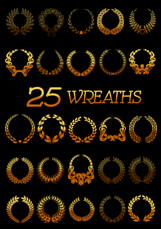 oak trees: Winner golden wreaths icons with shining floral frames made up of laurel and oak trees branches, flowers and wheat ears tied with ribbons and bows. Use as heraldic symbol or victory celebration design