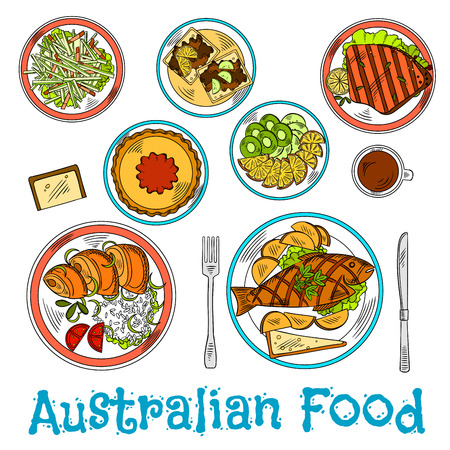 salmon dinner: Authentic australian dinner prepared from local ingredients icon with sketch symbols of traditional fish and chips, meat pie with tomato sauce and grilled lamb, rice with salmon and toasts with vegemite, vegetable salad and cup of coffe with sliced fresh