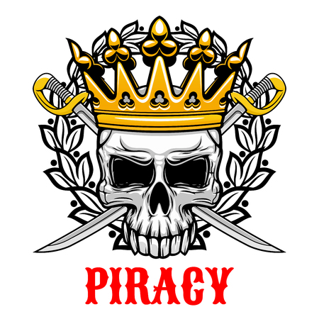 sabre's: Horrible skull wearing golden crown icon for jolly roger or piracy symbol and king of pirates concept design with crowned old human skull with crossed sabres on the background, framed by heraldic laurel wreath Illustration