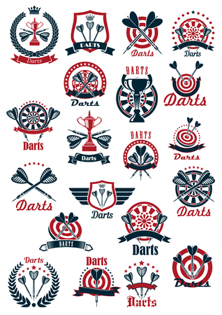 stars and symbols: Dartboards with darts missiles and winner cups symbols for darts club or tournament design usage supplemented by heraldic shields and laurel wreaths, ribbon banners and wings, crowns and stars