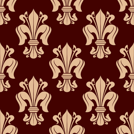monarchy: Medieval heraldic floral pattern of seamless beige fleur-de-lis ornament over maroon background. For history and monarchy themes or fabric design with victorian leaf scrolls and flower buds