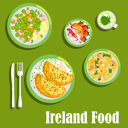rich flavor: Rich and flavor dishes of irish cuisine symbol with potato pancakes boxty with cheesy mushroom sauce and brussels sprouts warm salad with corned beef, dublin stew coddle, green beer and merengue dessert with fresh strawberries and hazelnut biscuits. Flat  Illustration