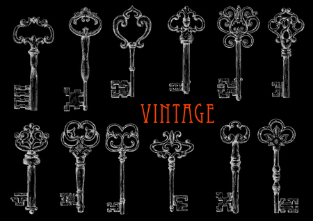 ornated: Decorative ancient skeleton keys with intricate notched bits chalk sketches on blackboard, ornated by vintage forged flourishes and fleur-de-lis elements. Use as tattoo or embellishment design