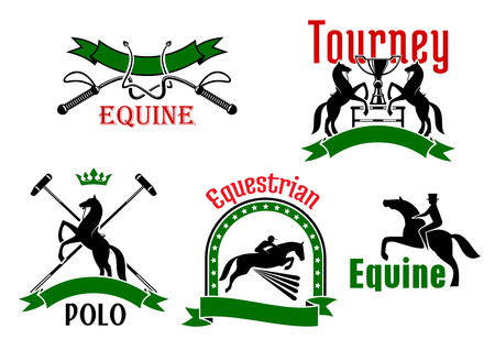 tourney: Jumping and rearing up horses, dressage whips, mallets and trophy cups icons, framed by ribbon banners, stars and crown. Use as equestrian sport tournament, polo game or equine club symbol design