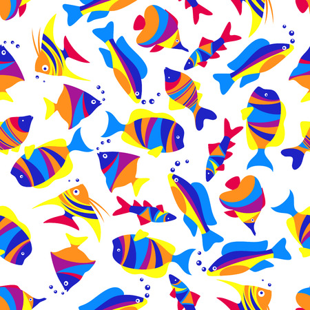 underwater fishes: Tropical sea life seamless pattern of swimming exotic fishes with colorful striped bodies, tails and fins over white background. Great for underwater life and nature themes design