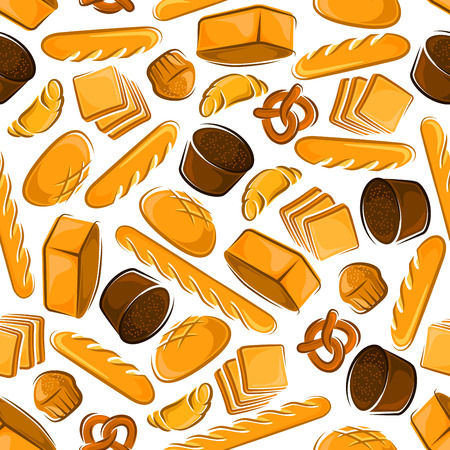 white bread: Seamless cartoon fresh baked bread pattern with butter cupcakes, croissants and sweet pretzels, healthfull dark rye and multigrain bread loaves, french baguettes and toasts on white background Illustration
