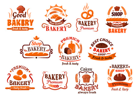 baking oven: Appetizing crispy french baguettes and croissants, raisins cupcake, bavarian pretzel and cinnamon rolls, loaves of organic fresh bread symbols framed by ribbon banners, wheat ears and vignettes. Bakery, pastry and cake shop signboard or promotion design Illustration