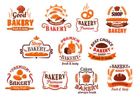 Smakelijk knapperige Franse baguettes en croissants, rozijnen cupcake, Beierse krakeling en kaneel broodjes, broden van organische vers brood symbolen omlijst door lintbanners, tarwe oren en vignetten. Bakkerij, gebak en banketbakker uithangbord of promotie ontwerp