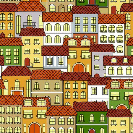 silhouette maison: Colorful vieilles maisons arrière-plan pour l'utilisation de la conception de thèmes d'architecture et de voyage avec seamless rétro paysage urbain avec des bâtiments d'époque de diverses couleurs vives