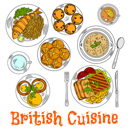 English sunday dinner icon with traditional roast beef and potatoes, fish and chips, muffin egg sandwiches and green pea soup, cups of tea served with currant scones and hot cross buns. Retro colored sketch for food design Çizim
