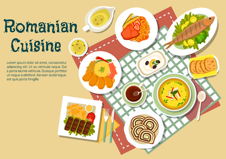 ground beef: Popular festive dishes of romanian cuisine flat icon with grilled ground meat and fish, stuffed cabbage rolls with bacon, chili peppers and mamaliga, tripe soup and bean stew with beef, eggplant salad and elder flowers lemonade with walnut sweet bread coz