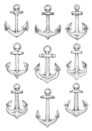 flukes: Retro nautical heraldic symbols of sketched admiralty pattern anchors with arrow shaped flukes and large chain rings. Use as naval badge or sailing club design