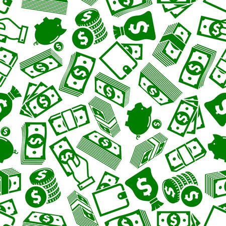 richness: Money and financial savings background pattern for richness and business success themes design with seamless green and white silhouettes of dollar bills and coins stacks, wallets and hands with money, piggy banks and money bags Illustration