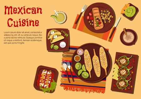 enchiladas: Mexican barbecue dishes for outdoor dinner icon with grilled corn on the cob,  beef steak carne asada and vegetarian tacos with sour cream sauce, chicken enchiladas and chilli bean stuffed peppers, guacamole with nachos and refreshing drinks. Flat style