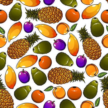 mangoes: Seamless cartoon pattern of juicy tropical pineapples and mangoes, oranges and avocados, garden plums and peaches fruits over white background. Great for organic farming theme or fruity dessert design