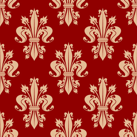 spiky: Scarlet red seamless fleur-de-lis pattern with pale peach ornamental curly leaves and spiky flower buds of royal lilies. Vintage interior and upholstery design usage Illustration