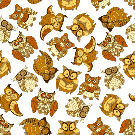 feathering: Funny brown owls retro background for nature theme or scrapbook page backdrop design usage with cartoon seamless pattern of flying and nesting forest owls Illustration
