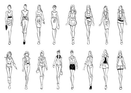 검은 색과 흰색 패션 모델 사무실 및 레저 활동에 대한 세련된 일상적인 옷을 제시하는 젊은 여성의 실루엣과 아이콘을 스케치합니다. 패션쇼 테마 또