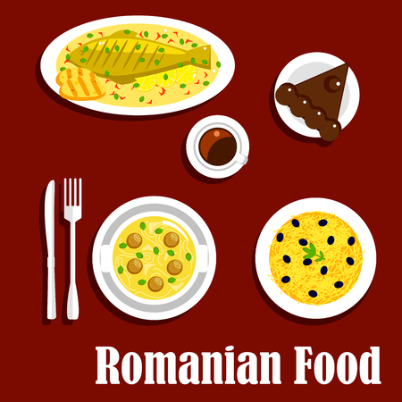 casserole: Savory romanian dinner icon with flat symbols of grilled fish and corn mamaliga, meatball noodle soup and potato casserole topped with cheese and olive fruits, cup of coffee with chocolate cake amandine Illustration