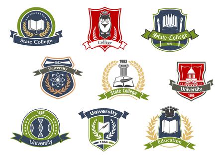 Bildungssymbole für das Design von Universitäts- und Hochschulschulen mit Büchern und Stiften, Abschlusskappe und Eule, Atom und DNA auf Wappenschildern, umrahmt von Lorbeerkränzen, Bandbannern und Sternen