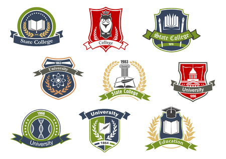 Education symbols for university and college school design with books and pens, graduation cap and owl, atom and DNA on heraldic shields framed by laurel wreaths, ribbon banners and stars