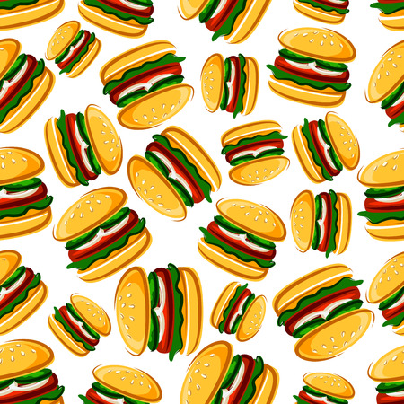 grilled vegetables: Steak burgers with fresh vegetables background for fast food design with seamless cartoon pattern of burger sandwiches with grilled beef steaks on wheat buns with fresh cucumber, onion and lettuce Illustration