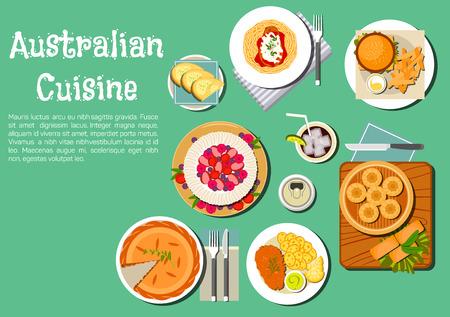 ミートパイと象徴的なオーストラリアの食品アイコン、スウィート ポテト、タラ卵サンドイッチ カンガルーのステーキ、ハンバーガー、ソーダ パン ダンパーと蒸し餃子、パブロワ ケーキのパスタのトッピング フルーツ、ビール、ソフトド リンク。フラット スタイル
