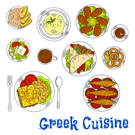 pita bread: Grilled greek sardines, squid and mussels sketch icon served with pork gyros on pita bread topped with vegetables and tzatziki, flambe goat cheese with fries and plate of feta, fish roe salad tarama and lemon chicken soup, coffee drinks Illustration