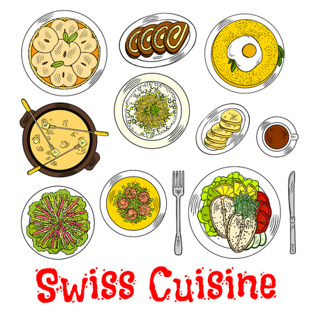 salad: Swiss cheese fondue sketch symbol with croutons, potato rosti topped with fried egg and risotto with cheese, steamed fish steaks and rainbow vegetable salad, green pea shrimps chowder, coffee with chocolate swiss rolls and apple tart Illustration
