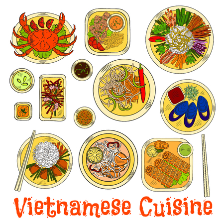 Essential dishes of vietnamese cuisine icon with steamed crab and mussels, fried shrimps and spring rolls in sesame seeds, garlic carrot and prawn salads, fresh vegetables and sticky rice, spicy sauces and rice noodle pork soup. Sketch style