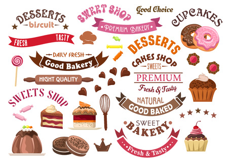 sweet pastries: Delicious chocolate pastries and desserts retro icons for confectionery and sweet shop design with tiered cakes and pudding, cupcakes and donuts, cookies, candies and lollipops, ribbon banners and stars Illustration
