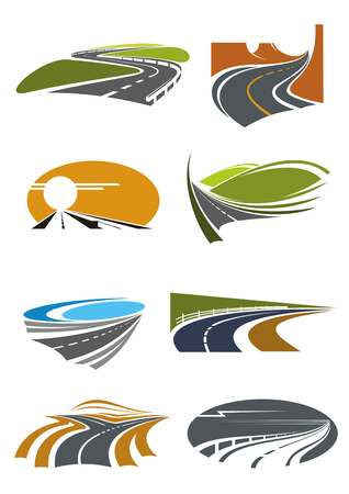 turns: Road landscapes icons for travel theme and car trip design usage with mountain and coastal highways, country and desert roads with steep turns and forked crossing