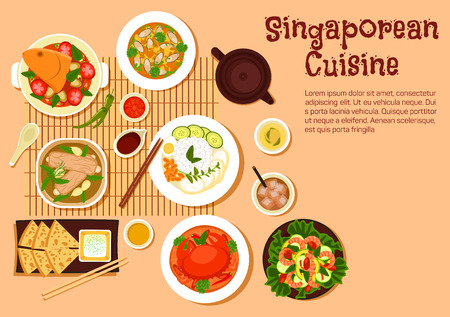 Popular singaporean seafood dishes flat symbol with chilli crab and nasi lemak rice, flatbread roti prata served with tartar sauce, fish head and mussel curries, pork rib soup and shrimp salad with fresh vegetables, herbal tea and iced black tea with milk Illustration