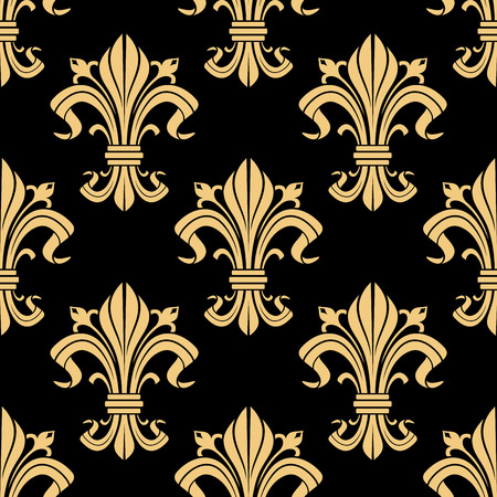 the monarchy: Medieval royal golden fleur-de-lis pattern on black background with seamless french heraldic ornament of victorian floral compositions. Use as vintage interior design or monarchy concept