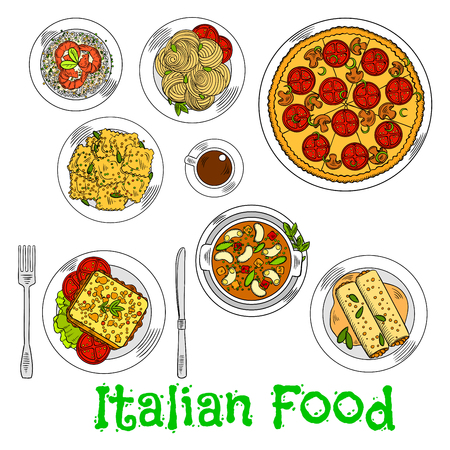 bolognese: Italian vegetarian pizza icon served with spaghetti, seafood risotto and agnolotti ravioli, hot sandwich with fresh vegetables, stuffed cannelloni pasta with bolognese sauce, butter beans and cup of coffee. Retro colored sketch style