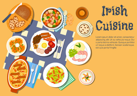 raisin: Nourishing and comfort irish food flat icon with potato pancakes boxty and irish stew coddle, full breakfast with beer, brussels sprouts bacon salad and corned beef with mashed potato, lamb stew and coffee with raisin bread and strawberry dessert
