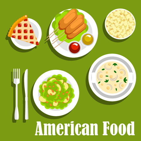 cream cheese: American lunch with fast food snacks and desserts icon with corn dogs, served with ketchup and mustard sauces, cream cheese soup and apple salad topped with nuts, berry pie and popcorn. Flat style