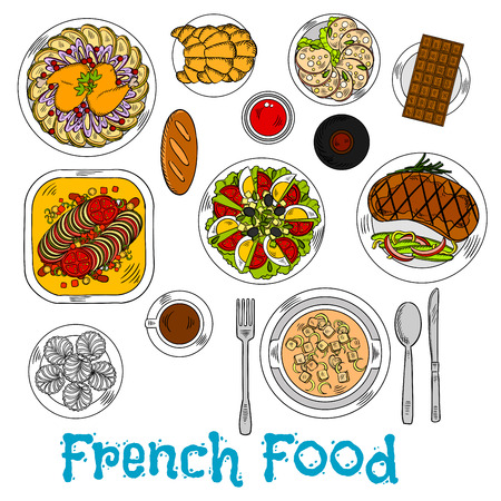 flavorful: Flavorful french baked stew ratatouille sketch icon with onion cheese cream soup and duck leg with fries, grilled steak and egg tomato salad topped with cheese and olives, red wine and cup of coffee with croissants, merengue cakes and chocolate bar