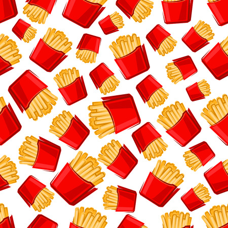 crispy: Seamless takeaway paper boxes of french fries pattern for fast food design with bright red packs of crispy potato fries on white background