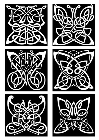 scroll tracery: Tribal butterflies symbols for tattoo or t-shirt print design with infinity swirling celtic knot patterns arranged into beautiful butterflies with open wings