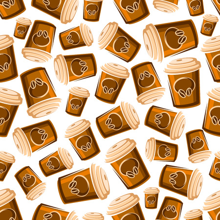 lids: Takeaway coffee cups seamless pattern of cartoon brown paper cups with lids, decorated by coffee beans on white background. May be use as fast food or coffee shop design