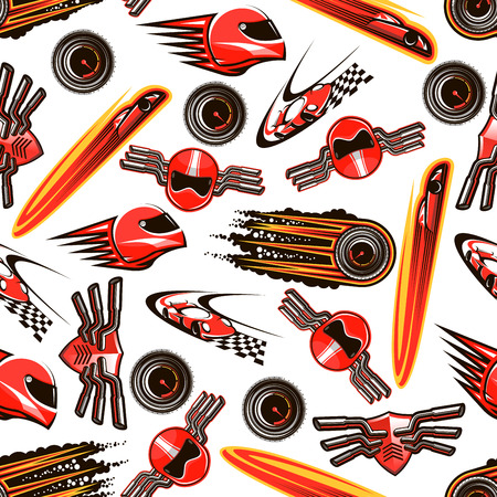 exhaust pipe: Motosport seamless pattern background of red racing cars with speed motion trails, flaming speedometers with black smoke, racing helmets and shields with exhaust pipes on both sides. Sport theme design usage