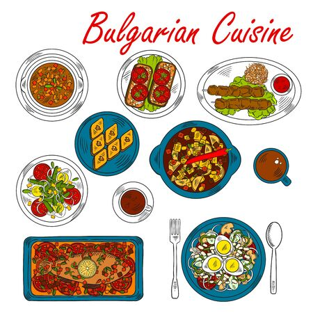 topped: National bulgarian pork and vegetable stew in clay pot icon served with baked carp and meat skewers, bean soup bob chorba and fried eggplants topped with garlic and tomatoes, vegetable egg salad and cup of coffee with walnut baklava. Sketch style Illustration
