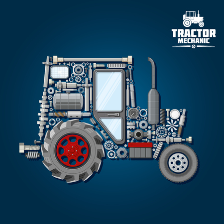 crankshaft: Mechanical parts silhouette of tractor symbol with front and driving wheels, door and exhaust stack, fuel tank and gears, suspension system and bearings, crankshaft and axle, headlights, springs and gauges Illustration