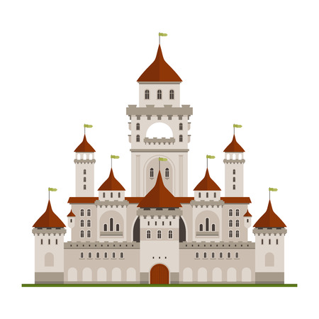 residence: Royal family residence symbol of grey stone castle with guard walls and main palace with towers, arched terraces and conical turrets with green flags. Medieval architecture and traveling themes design Illustration